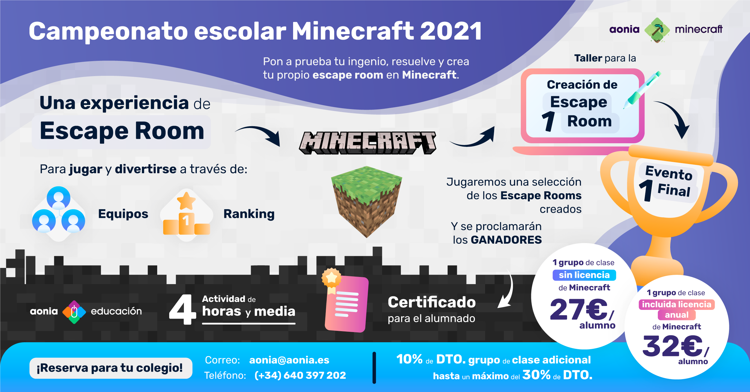 Campeonato Escolar Minecraft 2021 - Aonia Educación